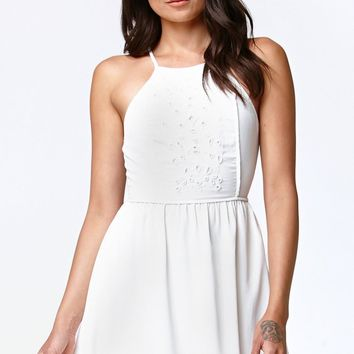Kendall & Kylie Beaded Goddess Neck Dress - Womens Dress - White