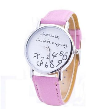 Women's Unique Whatever I am Late Anyway Pink Leather Watch Ladies