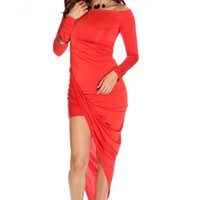 Red Off Shoulder Asymmetrical Hem Party Dress