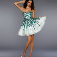 Mac Duggal Prom 2013- White With Aqua Sequin Design - Unique Vintage - Cocktail, Pinup, Holiday & Prom Dresses.