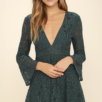 Better Be Good To Me Forest Green Lace Dress