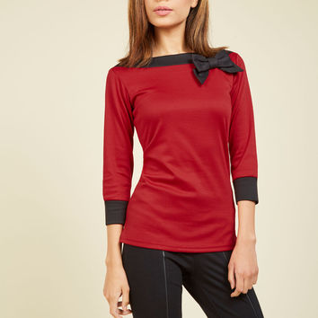 Roma Ready Top in Red | Mod Retro Vintage Short Sleeve Shirts | ModCloth.com