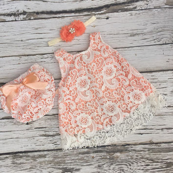 Baby girl dress. Ivory lace baby dress. Baby girl outfit. Peach baby dress. Swing set. Baby lace dress.