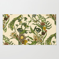 Botanical Pug Area & Throw Rug by Huebucket
