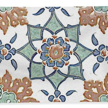An Ottoman Iznik Style Floral Design Pottery Polychrome, By Adam Asar, No 13k - Bath Towel