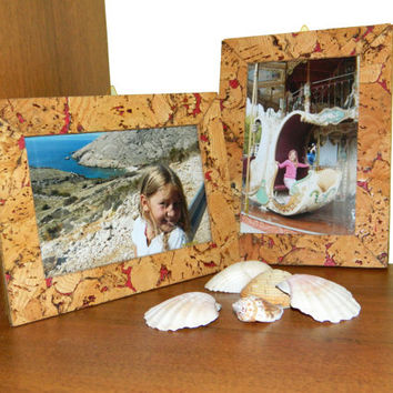 Rustic Wooden Photo Frame balsa wood photo frame cork tree with 4 by 6 inch portrait opening shabby chic Home decor handmade bridal wedding