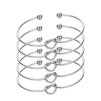 Bridesmaid braceletsIkooo 5 pcs Love Knot Open Bangle With Bride Tribe Hair tie for Best Friend BFF of the Bride wedding Gift