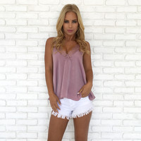 Lace & Satin Blouse In Lilac