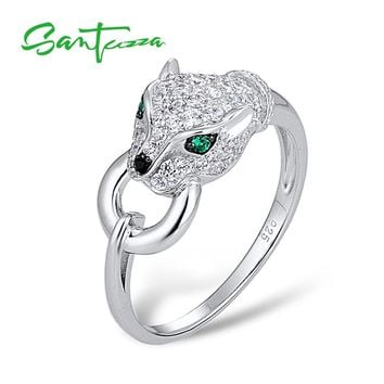 SANTUZZA Silver Panther Ring For Women 925 Sterling Silver Fashion Rings for Women 2017 Cubic Zirconia Ringen Party Jewelry