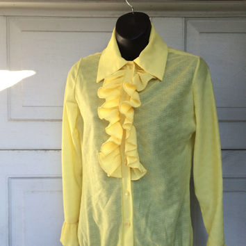 Disco Era Yellow Ruffled Blouse Bodysuit | 70s Vintage Women Top Large