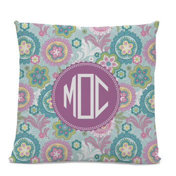 Monogram Pillow - Paisley Pillow - Initial Pillow - Monogrammed Pillow - Custom Throw Pillow Flower Monogram Pillow