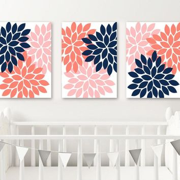 NAVY CORAL Wall Art, Flower Wall Art, Navy Coral Nursery Decor, Floral Bedroom Wall Decor, CANVAS or Print, Floral Bathroom Decor, Set of 3
