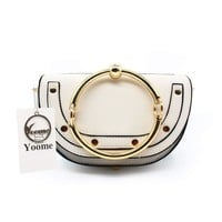 Yoome Women Punk Circular Ring Handle Handbags Small Round Purse Crossbody Bags For Girls