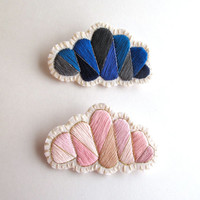 Rainy and sunny day clouds geometric brooch set hand embroidered in pinks and grays