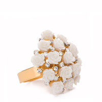 Bouquet Of Roses Ring - Ivory