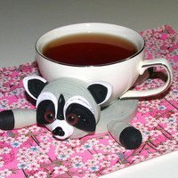 Coasters for drinks Sweet raccoon Stand for the cup Cup Stands Cup pad Kitchen's decoration Stand cup Cup coaster Quilling art