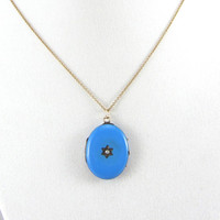 Antique Victorian 14K Gold Blue Enamel Locket Pendant with Seed Pearl Mourning Photo Locket Necklace Yellow Gold Memorial Fine Jewelry