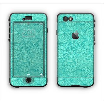 The Teal Leaf Laced Pattern Apple iPhone 6 LifeProof Nuud Case Skin Set