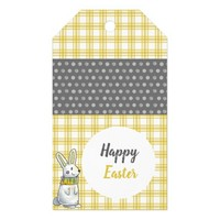 Yellow grey bunny Happy Easter Gift tag
