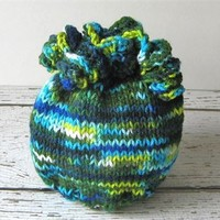 Hand Knit Baby Beanie Size 0 to 6 Months Infant Corkscrew Tassels Hat Blue Green