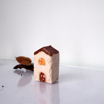 Stoneware Rustic Homes, Small Ceramic Cottage Houses, Miniature Clay Rustic Village,  Croatia