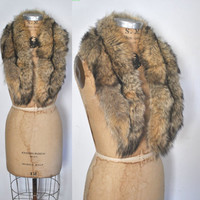 Fox Fur Collar / multicolor scarf boa
