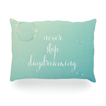 "Susannah Tucker ""Never Stop Daydreaming"" Aqua Oblong Pillow"