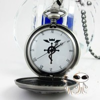 Fullmetal Alchemist Brotherhood - Ed Pocket Watch Necklace Cosplay Accessories Silver