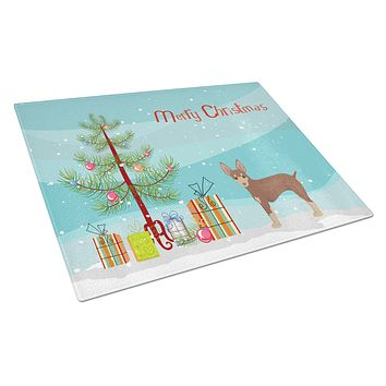 Miniature Fox Terrier Christmas Tree Glass Cutting Board Large CK3474LCB