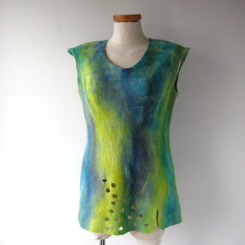 Felted vest wool felt blouse  felted top seamless blue yellow  women vest  by Galafilc