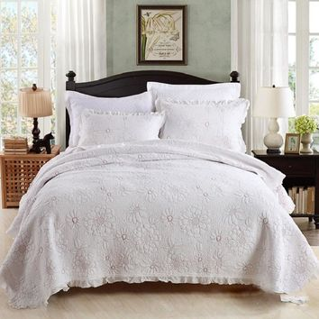 CHAUSUB Cotton Quilt SET 3PCS Embroidery Bed Cover Quilted Bedspread Sheets Pillowcase Coverlet Set King Size White Bedding