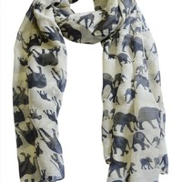 Animal Print Scarves: Cute Elephant Pattern Wrap Scarf For Women