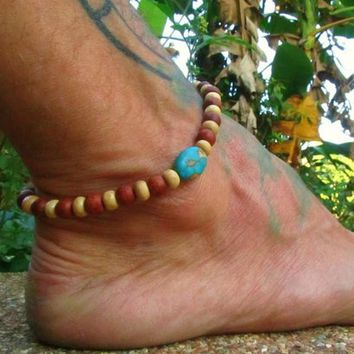 Mohave Turquoise & Wooden Beaded Anklet / Mens Ankle Bracelet / Surfer Ankle Bracelet / Boho Beaded Anklet / Beaded Manklet / Beach Wear