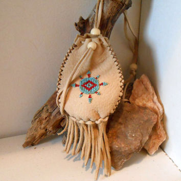 Beaded Medicine Bag, Handmade, Eye of Wisdom Bead Design, Hand Sewn, Amulet Bag, Leather Pouch, Hippie, Native American, Hippie, Boho