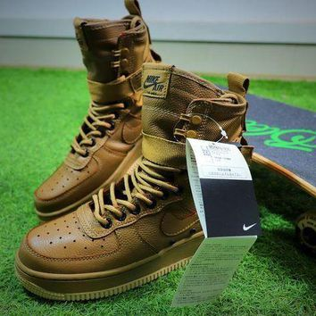 LMFUX5 Nike Special Forces Air Force 1 SF AF1 Boots Khaki Shoes Women Sneaker