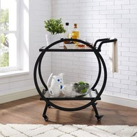 Black Round Frame Bar Cart