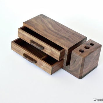 Wooden desk organizer with 2 drawers - home office organizer - elegant wood desk storage - MADE TO ORDER