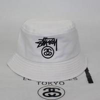 Stussy Trending Unisex Casual Cowboy Cap Camouflage Hip-Hop Fisherman Hat Short Along Cotton Basin Hat Folding Sun Hat Street Dance Skateboard Hat White