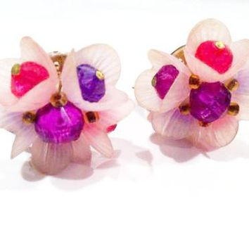 Vintage Jewelry from Germany Cluster Clip on Earrings