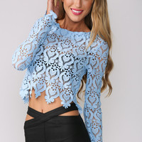 Blue Round Neckline Long Sleeve Sheer Lace Crop Top