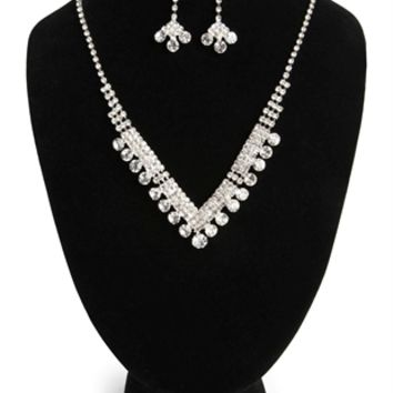Rhinestone Jewelry Set with V Design