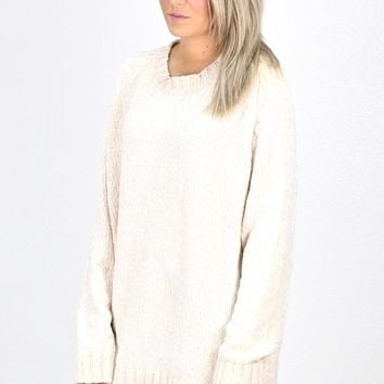 Softest Luxury Chenille Oversized Sweater {Cream}