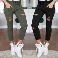Skinny Jeans Women Denim Pants Holes Destroyed Knee Pencil Pants
