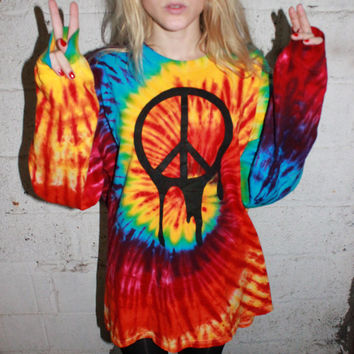 Melting Peace Tie Dye Oversized Sweater Dress / Grunge Peace Sign / Psychedelic One of a Kind / Rave Raver Clothing / Long Sleeve / Trippy