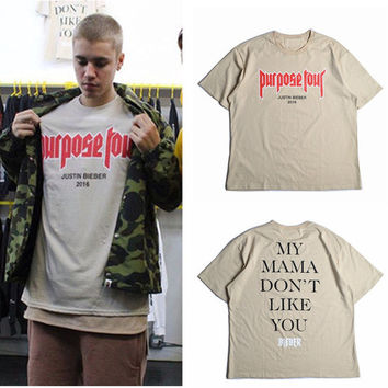 Vfiles Justin Bieber Fear Of God Purpose Tour T Shirt Men Women My Mama Dont Like You Letter Printed Tops Tee Hip Hop Streetwear