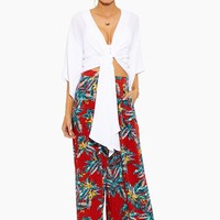 White Sands Kimono Drape Top - White/Blue Floral