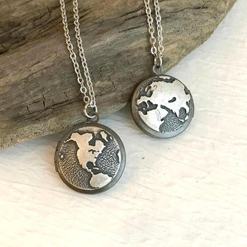Tiny Globe Locket Necklace, antique silver small photo picture pendant earth map planet anniversary gift gifts for wife girlfriend
