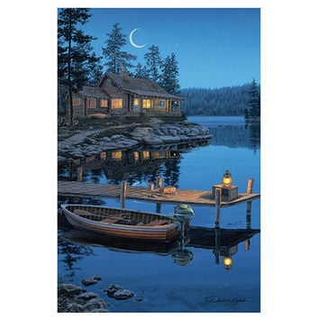"24""x16"" LED Wall Art Autumn Lake Cabin"