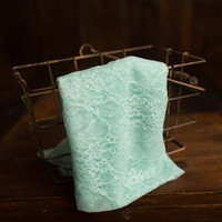 Aqua Maternity and newborn stretch floral lace wrap, photography prop 18 x 60