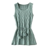 TopStyliShop Woman's Round Neck Sleeveless Knitted Dress with Tie Waist Balls S091915 Color Green